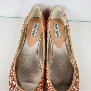 d248292949b Steve Madden Rose Gold Sparkly Ballet Flats